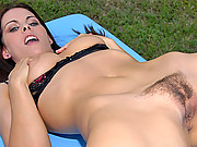Hot ass babe with sexy big bush strips in the park then gets nailed in her box in these hot outdoor slim babe fucking vids