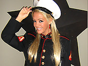 Foxy Jacky naked in a Marine uniform
