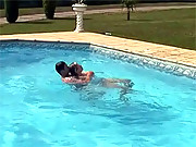 The rescue of a blonde teen with big boobs in swimming pool