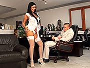 Teenage hottie in stockings fucking her boss for a raise