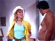Classic blonde with a gun tries to rob a guy his goodies