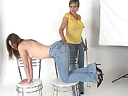 Tight jeans spanking