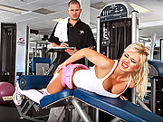Dumb blonde gets slammed in the gym