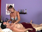 A horny guy pays extra money for sex service in a massage parlor