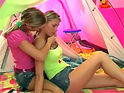 Two blonde teenage friends toying each others tight pussy