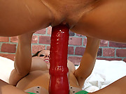 Pamela pounded by huge strap on dildo