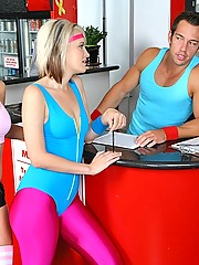 3 amazing hot workout babes tie down a dude and force him to fuck them in the gym in these hot pics and big movie update