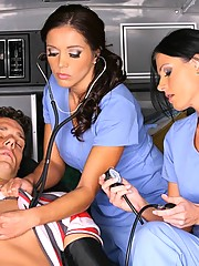 2 smokin milf ambulance babe fuck a drunk back to life in these hot fucking pics