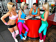 Hot ass kimberly kain and the girls flirt with gym trainer in these hot gang bang milf fucking vids