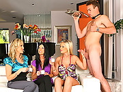 3 amazing milfs take advantage of the waiter and suck and masterbate his cock while sipping on coffee in these hot milf fucking and masterbation pics
