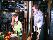 Redhead teenager fucking a senior in a bistro
