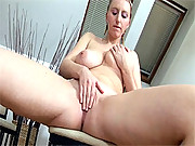 Blonde with huge natural tits showing it all