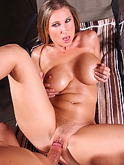 Devon Lee is sunbathing when one of her son�s friends stops by. Instead of going up to her, he stands back and watches Devon tan topless. After she discovers he�s peeping, Devon tells him to come out from the bushes and bury his face in hers!!