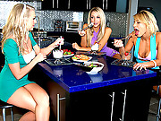 Check out these 3 hot lesbians share their pussies in the kitchen in these hot dildo fucking licking vids