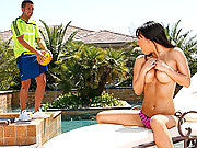Busty Asian getting pounded hard on the pooldeck