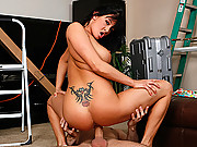 Tory Lane slamming down on a huge dick during a porn shoot