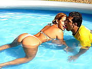 Mega hot big booty brazilan gets fucked in the pool in these hot wet fucking vids