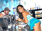 Amazing mini skirt latina gets fucked hard in the back of the smoothie shop in these hot amazing cum faced vids