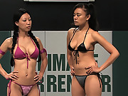 Two hot Asians beat the shit out of each other, loser got fucked.