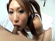 Ren Ito Asian doll in pigtails is cute and enjoys getting fucked at gangbang