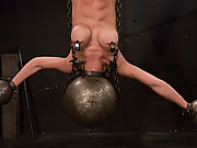 Hot shaved Asain with huge nipples, bound and made to cum.