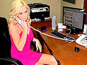 Hot blonde milf gets her box fingered and banged after meeting someone in her private office from online in these vids