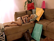 Bitch sleeping on couch gets fondled!