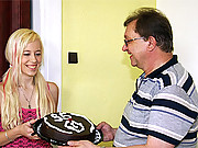 Petite young blonde has an amazing present