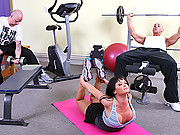 Hot brunette gets pounded in a gym
