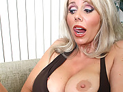 Blonde big tit MILF sucks hard cock to pay debt