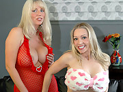 Blonde MILFs with big boobs masturbate for each other