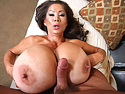 Wild Asian slut uses her giant tits to get dick off