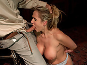 Busty beauty Alanah Rae, a sex slave fucked in bondage.