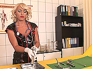 Nasty hot horny nurse Kathia masturbates in latex & heels