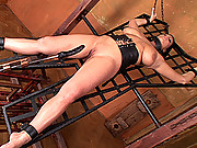 Busty LaTaya Roxx spanked & fucked hard in chains by machine