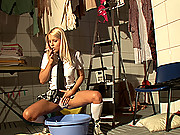 Blonde kinky schoolgirl starts pissing in cotton panties