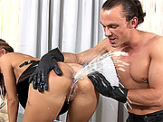 Young slim Satin Bloom gets bound and exploited by Cage