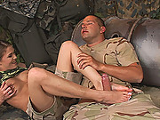 Hot young babe Rebecca Contreras does footjob in uniform