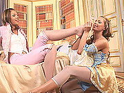 Hot young lesbian babes Goldy & Leila have foot fetish sex