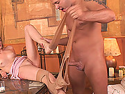 Blonde babe Jenny Noel gives Thomas Stone a hardcore footjob