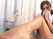 Hot Kathlen stripteases wild and masturbates with heels