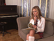 See sexy, freckled schoolgirl Daisy masturbating for you
