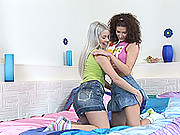 Lesbian teens use a banana for hot, sapphic sex insertions