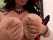 Hot babe Joanna stripteases & plays with her huge boobs