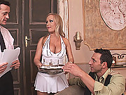 Horny busty slut Jessica Moore in wild hot threesome action