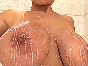 Busty blonde has milking & masturbation fun in her bathroom