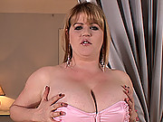 Fat slut busty Amber gets rid of her sexy clothes happily