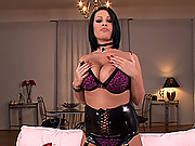Hot wild slut LaTaya Roxx shows her huge boobs in latex