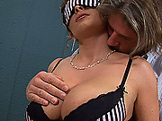 Constance Devil gets a hard cock between her large boobs