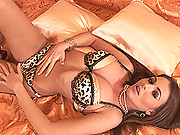 Busty young brunette Nelly Sullivan toying & cumming on bed